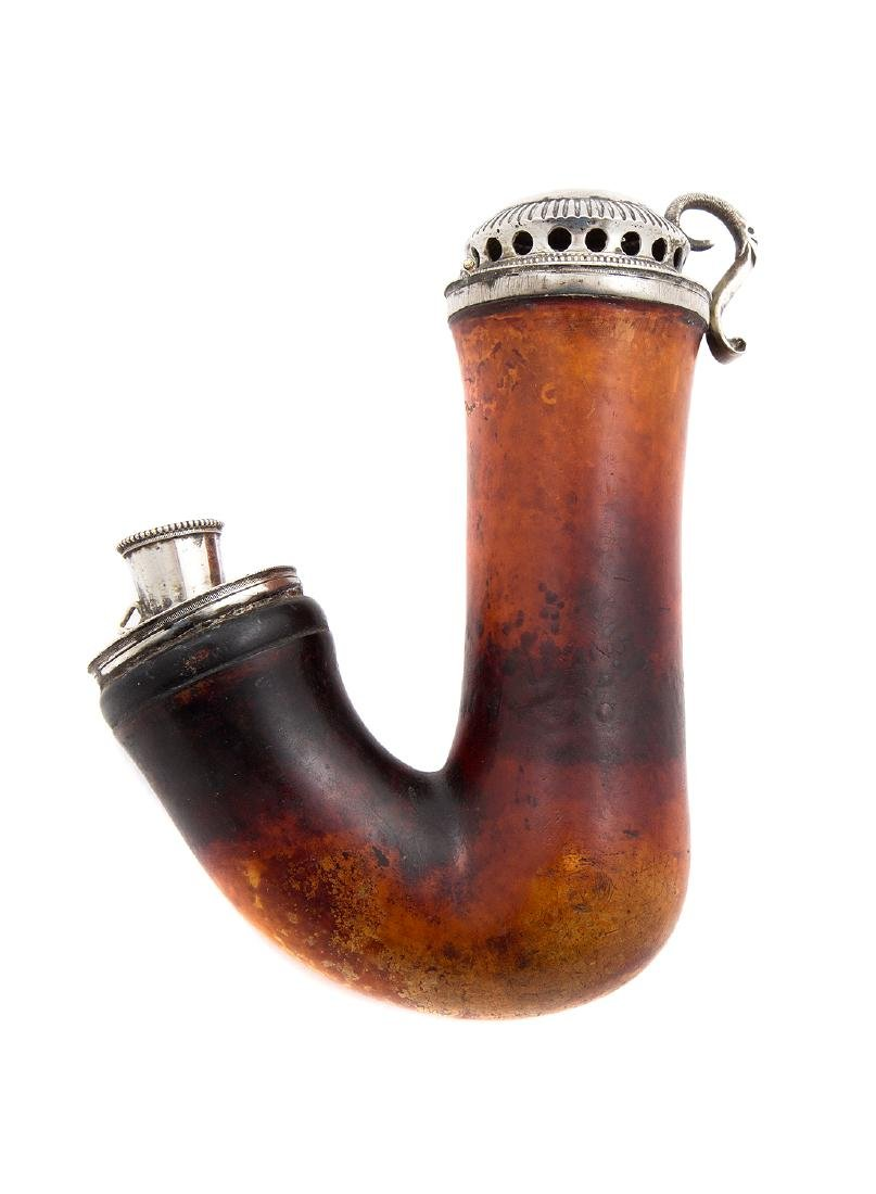EMPIRE-STYLE PIPE, SILVER LID AND FITTINGS, CA. 1810