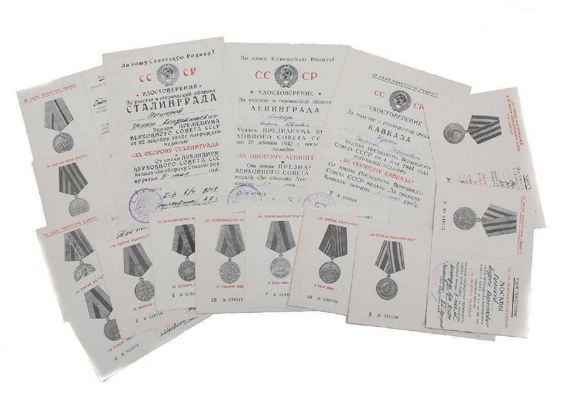 SET OF FIVTEEN SOVIET ORDER CERTIFICATES
