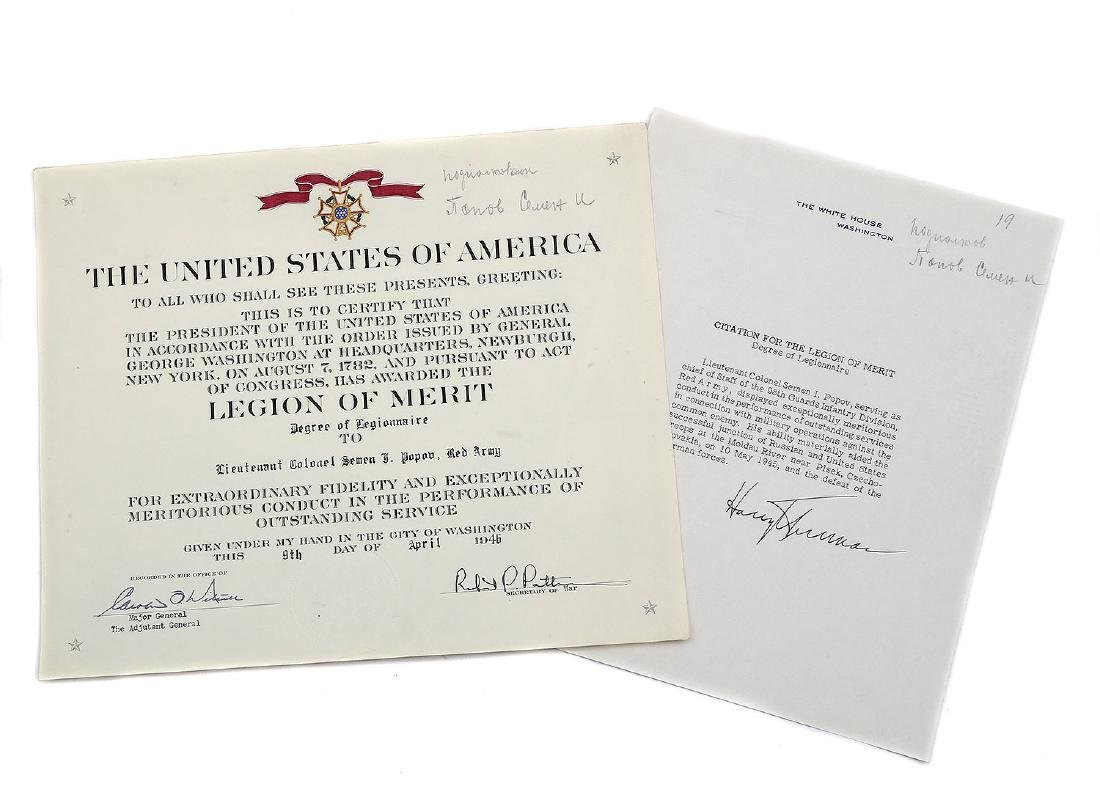 RARE AMERICAN WWII AWARD RUSSIAN OFFICER SIGNED TRUMAN