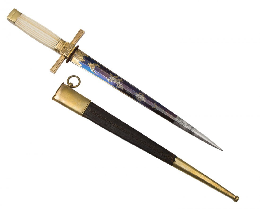 EUROPEAN GILT NAVAL OFFICER'S DIRK, 19TH C. - 2