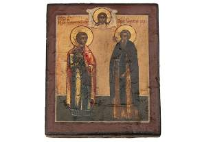 RUSSIAN ICON WITH TWO SAINTS