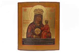 RUSSIAN ICON MOTHER OF GOD 19TH C
