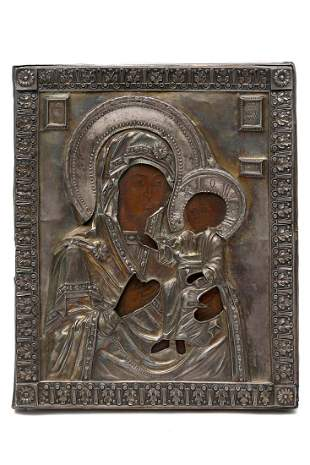 RUSSIAN ICON OF THE MOTHER OF GOD 19TH C