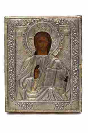 RUSSIAN ICON OF CHRIST PANTOCRATOR 19TH C