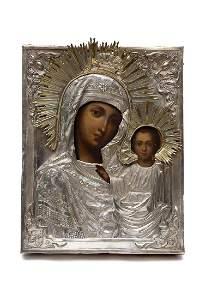 RUSSIAN ICON MOTHER OF GOD KAZANSKAYA, 19TH C.