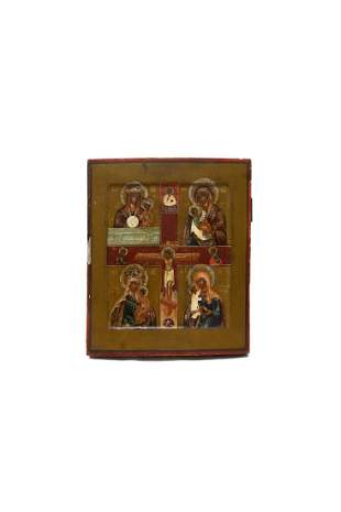 RUSSIAN FOUR PART ICON 19TH C
