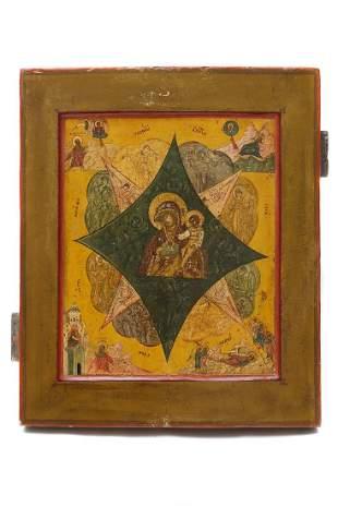 RUSSIAN ICON MOTHER OF GOD UNBURNT BUSH 18TH C