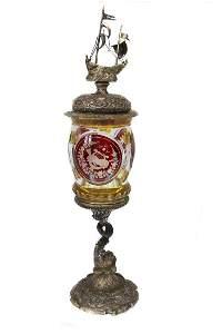 GERMAN SILVER GOBLET, 19TH C.