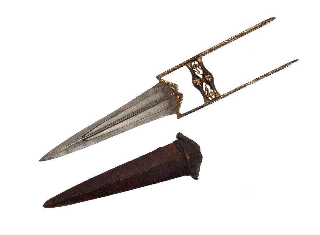 GILDED INDIAN KATAR DAGGER IN SHEATH - 2