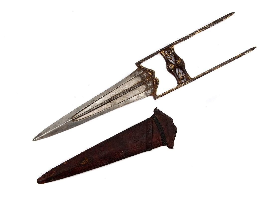 GILDED INDIAN KATAR DAGGER IN SHEATH - 3