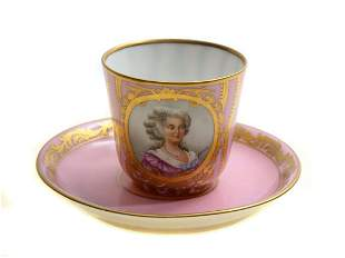 CUP AND SAUCER PINK WITH FEMALE FIGURE