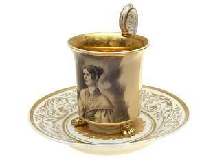 1838 KPM THREE LEGGED CUP WITH FEMALE PORTRAIT