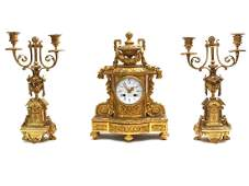 A 3-PIECE FRENCH GILT MANTLE SET & CANDELABRAS