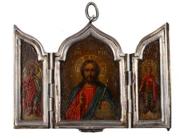 RUSSIAN SILVER TRIPTYCH ICON ST. PETERSBURG, 19 C