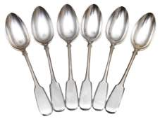SET OF 6 TABLE OR SOUP SILVER RUSSIAN SPOONS