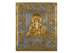 RUSSIAN BRASS ICON ST NICHOLAS MIRACLEMAKER