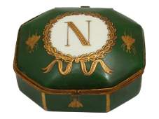 A SEVRES NAPOLEON PORCELAIN GILT BRONZE MOUNTED BOX