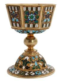 SAZIKOV RUSSIAN 91 SILVER GILT AND ENAMEL GOBLET