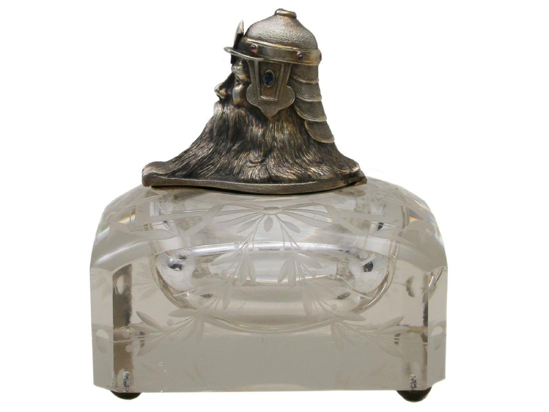 A RUSSIAN GLASS AND SILVER BOGATYR INK WELL, 19 C - 2