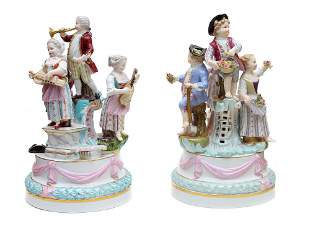 A MEISSEN 19TH CENTURY PORCELAIN REVELRY GROUPING