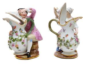 A MEISSEN FIGURATIVE PITCHERS W GIRL AND BOY 1900