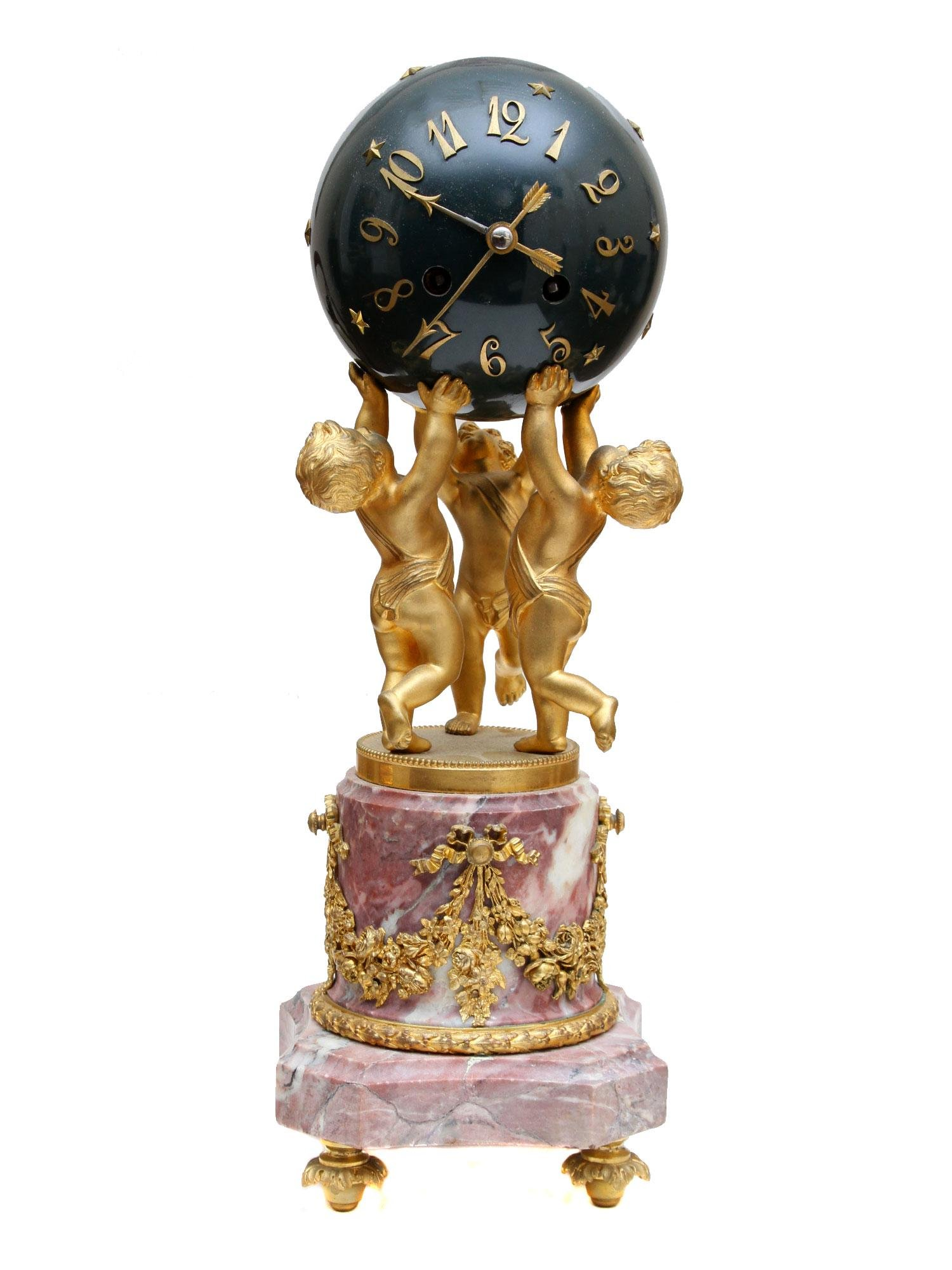 A GILT CHERUBS BRONZE AND MARBLE FRENCH, 19TH CEN.