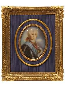 A RUSSIAN MINIATURE DEPICTING CATHERINE II, 19TH C.