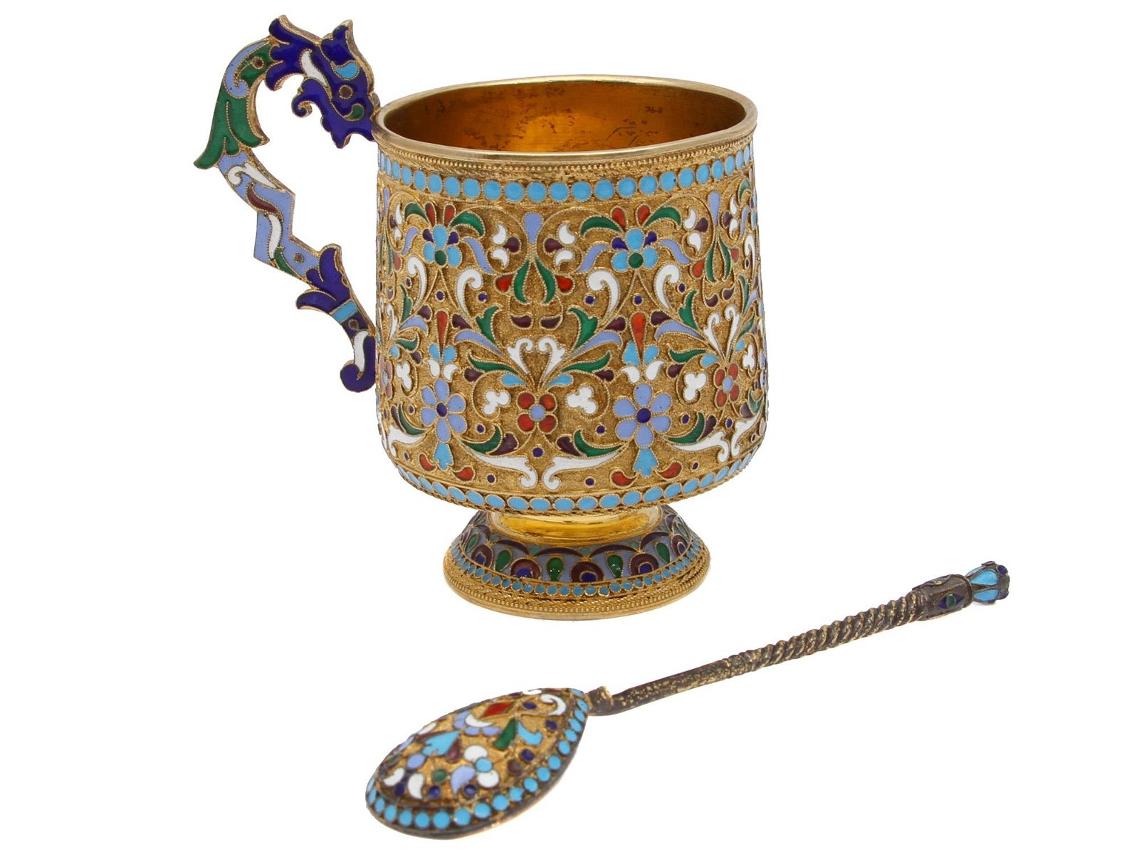 A RUSSIAN GILT ENAMELED SILVER CUP AND SPOON