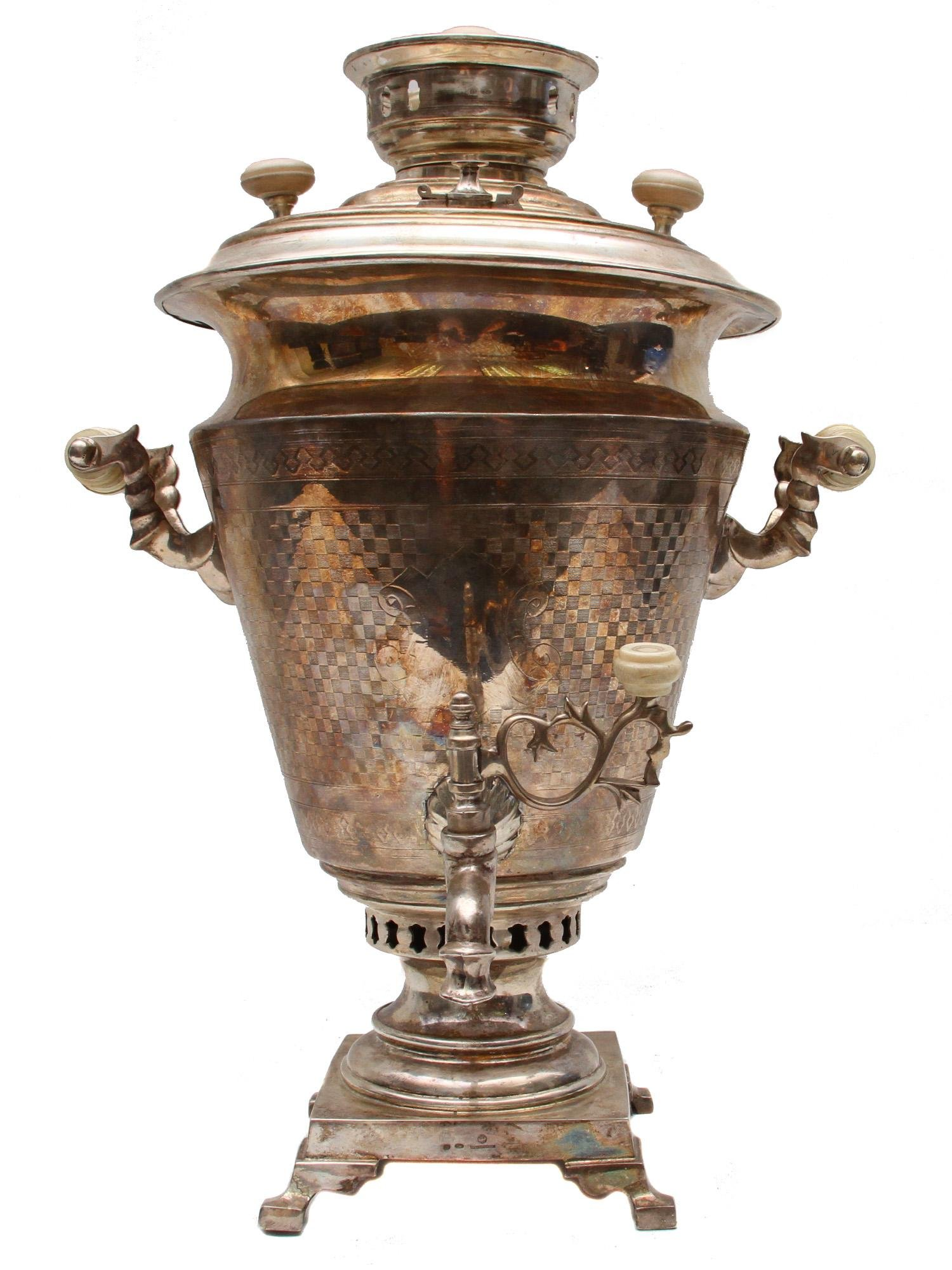 A LARGE RUSSIAN SILVER SAMOVAR BY OVCHINNIKOV