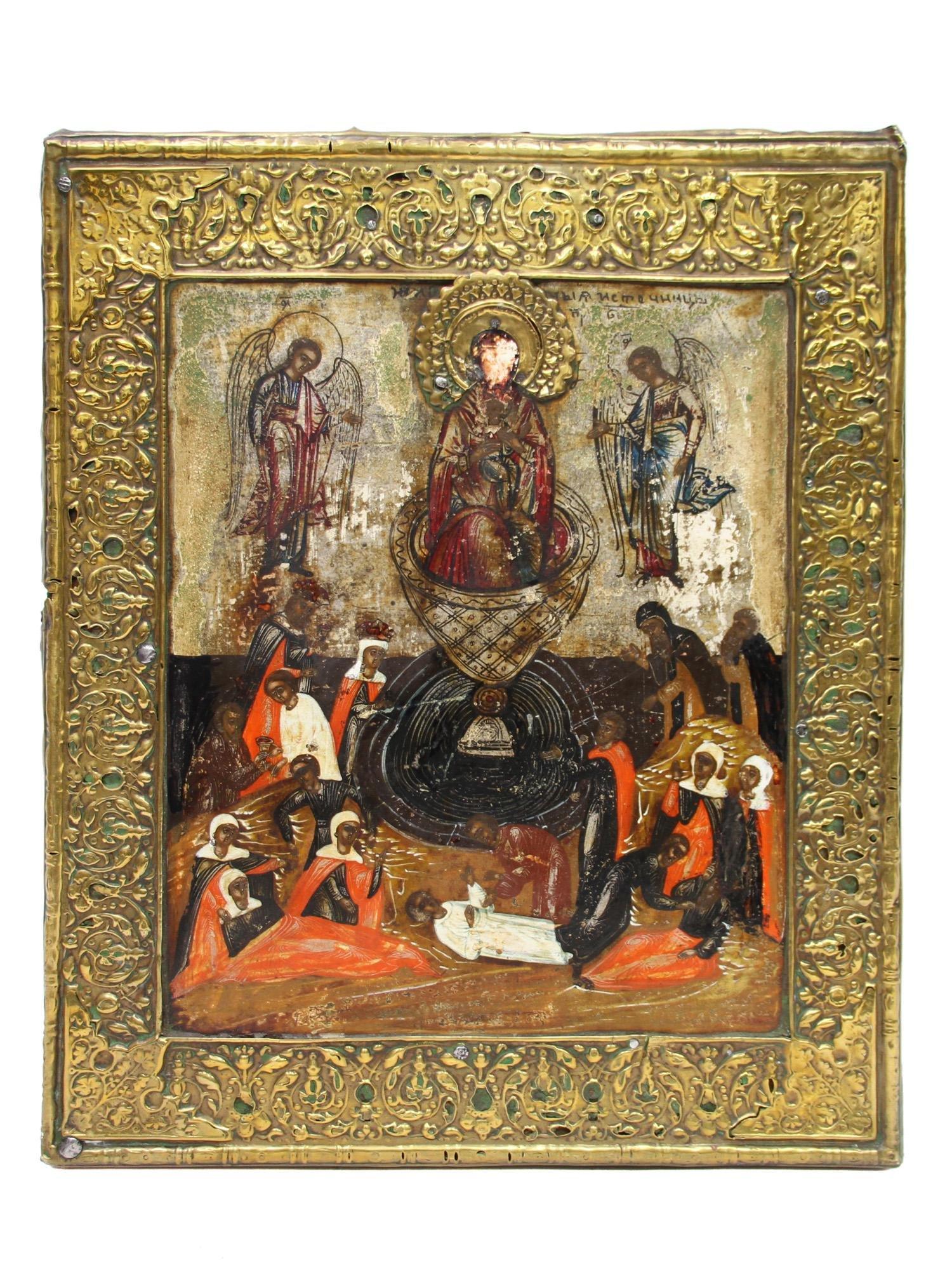 ICON THE ASCENSION OF CHRIST, BASMA OKLAD, 18 C.