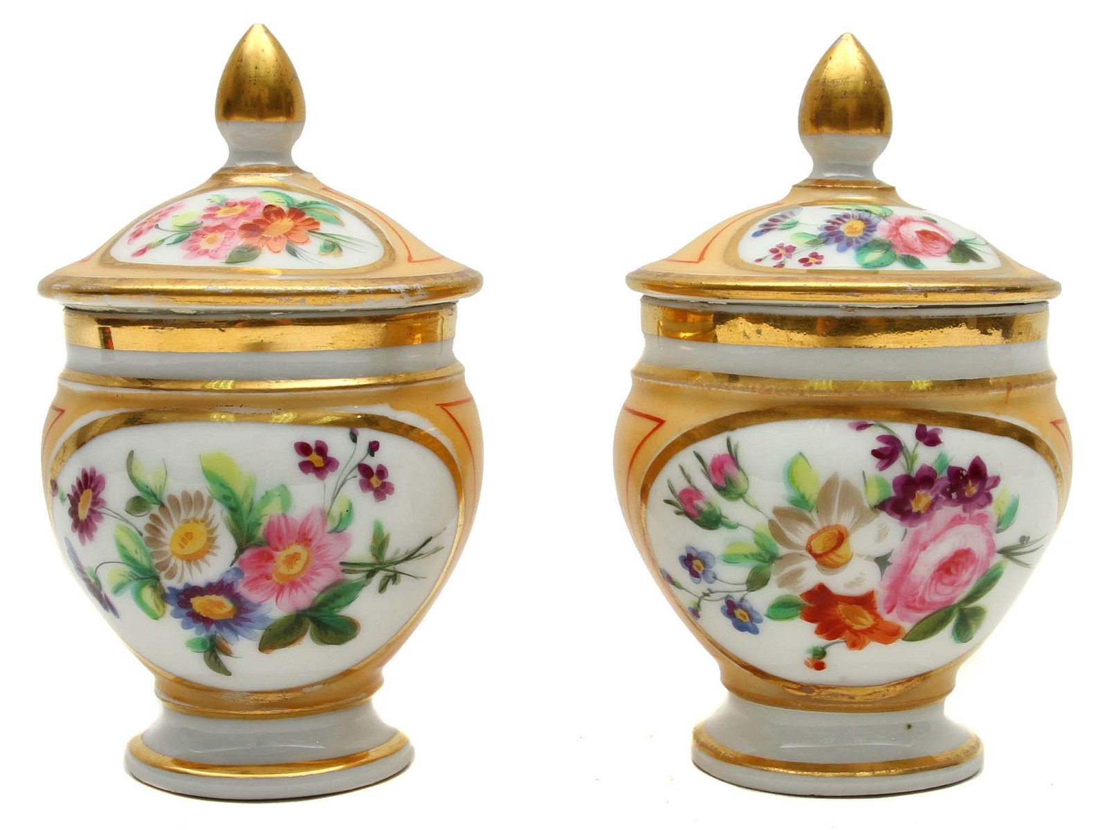 A PAIR OF RUSSIAN POPOV PORCELAIN POTS WITH FLOWERS