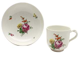 A VIENNA ROYAL PORCELAIN CUP AND SAUCER 19TH C