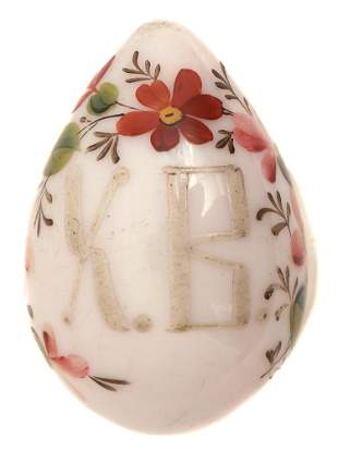 A PAIR OF RUSSIAN GLASS EASTER EGGS 19TH C