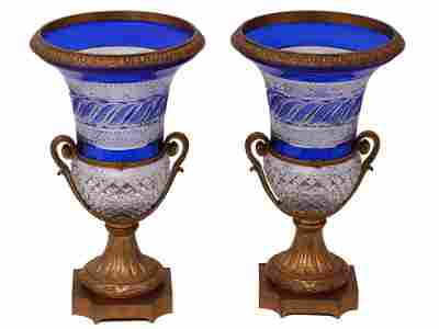 A PAIR OF RUSSIAN IMPERIAL GLASS FACTORY VASES