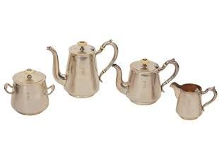 A RUSSIAN ART DECO SILVER COFFEE AND TEA SET