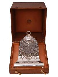 AN IMPORTANT FABERGE SILVER-MOUNTED GLASS INKWELL