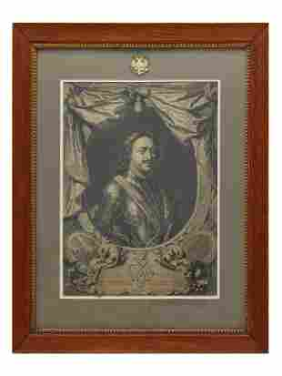 A RUSSIAN ETCHING DEPICTING PETER THE GREAT 18 C