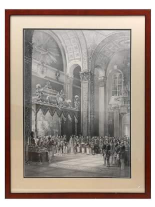 A RUSSIAN ENGRAVING OF ALEXANDER II CORONATION