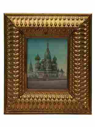 A ST BASIL CATHEDRAL IN MOSCOW RUSSIAN OIL PAINTING