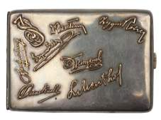 GERMAN SILVER CIGARETTE CASE WITH GOLD OVERLAYS