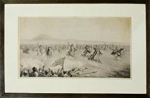 LITHOGRAPH OMDURMAN CHARGE OF THE 21 LANCERS