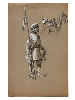A RUSSIAN COSSACK PENCIL AND INK DRAWING 19TH C