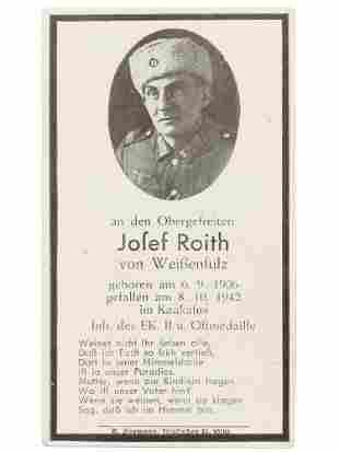 A GERMAN WWII RUSSIAN COSSACK DEATH NOTICE 1942