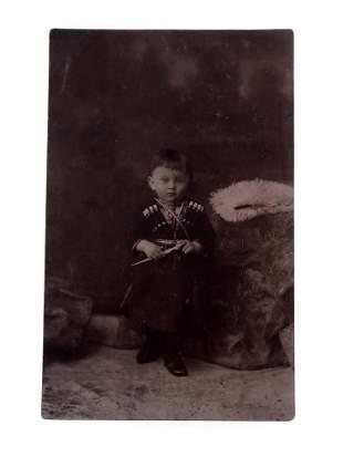 RUSSIAN CAUCASIAN PHOTOGRAPH BOY WITH DAGGER