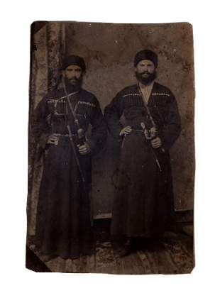 RUSSIAN CAUCASIAN MEN WITH DAGGER AND SWORD