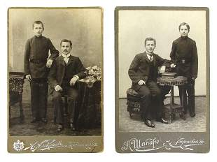 TWO RUSSIAN IMPERIAL CARD CABINET PHOTOGRAPHS