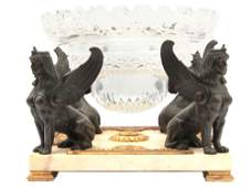 A FRENCH CUT-CRYSTAL CENTERPIECE W. BRONZE STAND