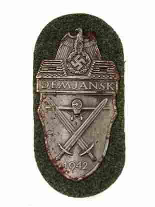 A GERMAN WW2 ARMY ISSUED DEMJANSK SHIELD PATCH