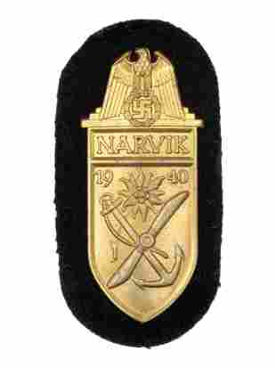 A GERMAN WWII NARVIK SHIELD FOR NAVY UNITS GILDED