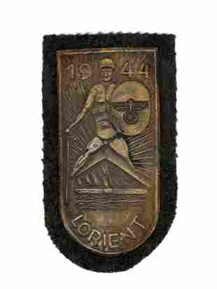 A GERMAN ARMY SLEEVE PATCH LORIENT 1944 SHIELD